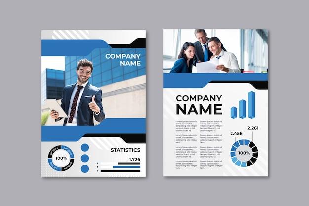 Business-präsentations-flyer-vorlage mit mitarbeitern