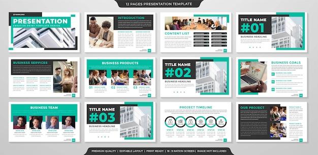 Business-präsentations-layout-vorlage mit modernem und sauberem stil für unternehmensinfografiken