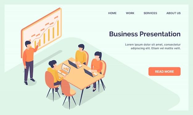 Business-präsentationsteam für website-vorlage landing homepage mit modernen isometrischen wohnung