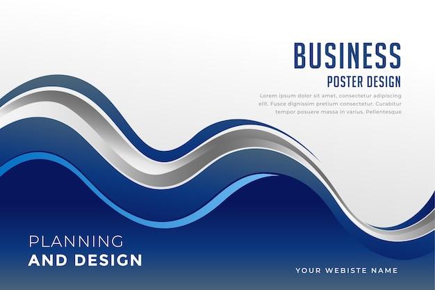 Business-präsentationsvorlage im blauen wellenförmigen stil