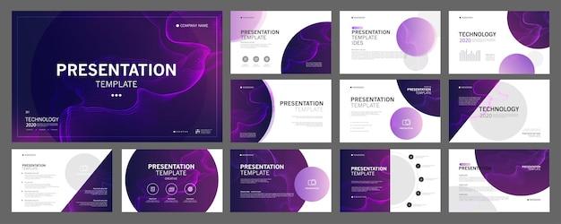 Business-präsentationsvorlagen setzen die verwendung in präsentationsflyern und broschüren-unternehmensberichten ein