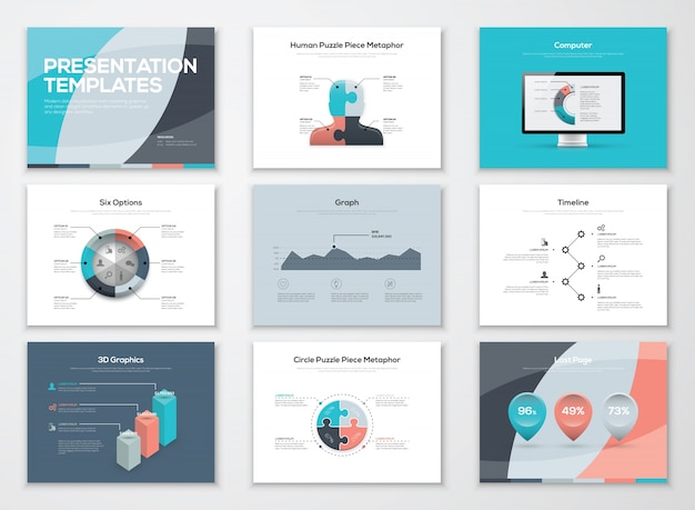 Business-präsentationsvorlagen und infografische vektorelemente