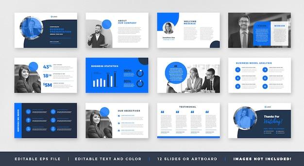 Business presentation brochure guide design oder pitch deck slide template oder sales guide slider Premium Vektoren