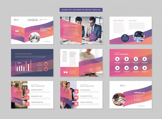 Business presentation guide design | powerpoint-folienvorlage | verkaufsleitfaden schieberegler