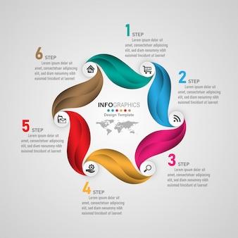 Business process timeline infografiken 6 schritte.