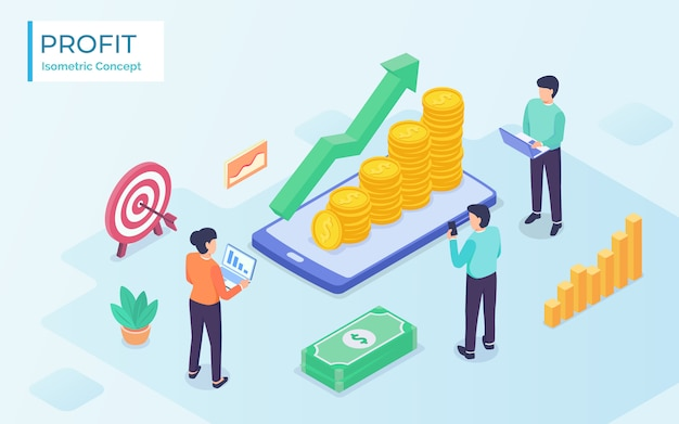 Business profit wealth team management-konzept mit modernem isometrischen stil