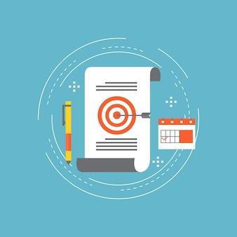 Business-projekt flache linie illustration design