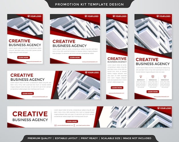 Business promotion kit vorlage premium-stil template