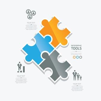 Business-puzzle-teile infografische option werkzeuge vektor