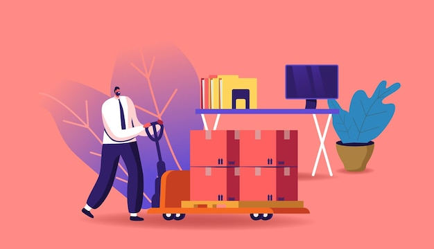 Business revival illustration. businessman character pushing manual trolley