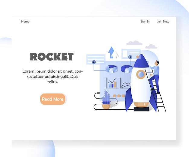 Business rocket website landing page vorlage Premium Vektoren