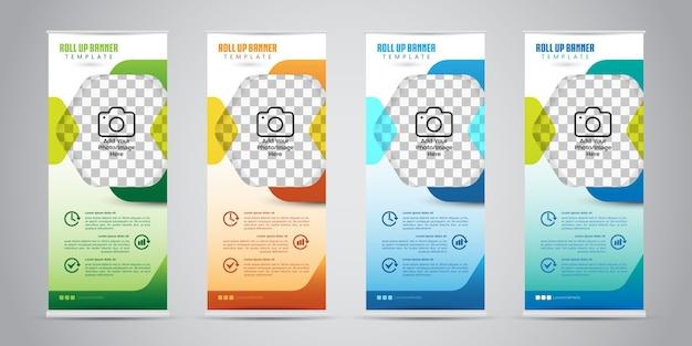 Business roll up banner mit 4 verschiedenen farben. standendesign. banner vorlage