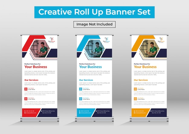 Business roll up banner set, moderne standee banner vorlage