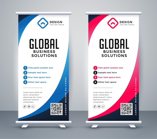Business roll-up display standee für präsentationszwecke