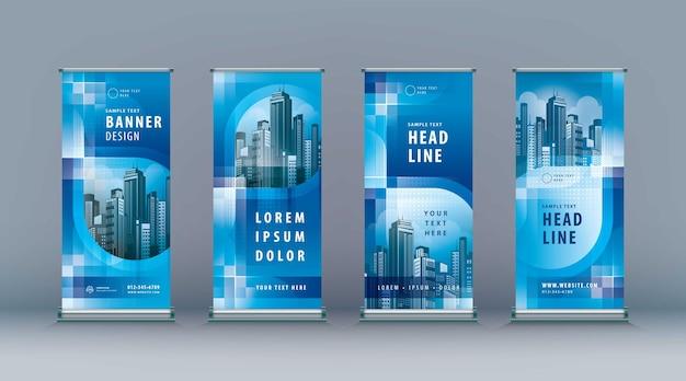 Business roll up set standee design banner vorlage abstrakte blaue unendlichkeitsschleife jflag