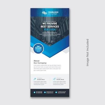 Business rollup-banner mit blauem akzent