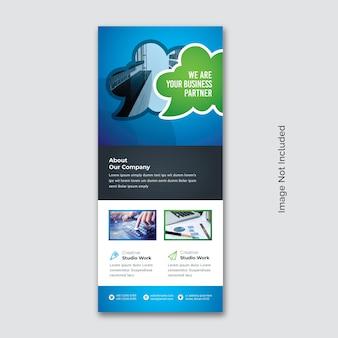 Business rollup mit blaugrünem akzent