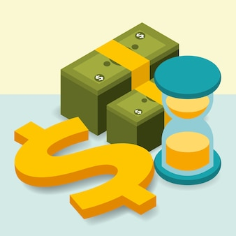 Business sanduhr haufen banknoten dollar geld isometrische