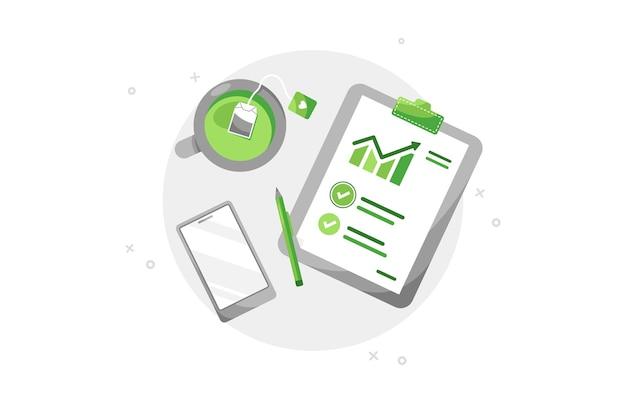 Business-schreibtisch mit zwischenablage und telefon in flachem design