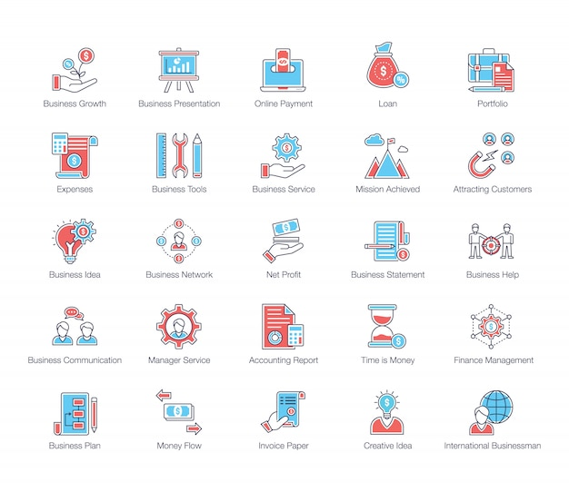 Business services flache icons pack