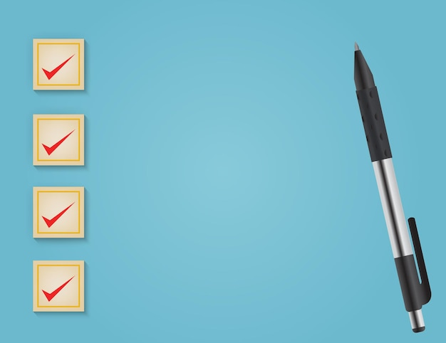 Business services rating customer experience konzept des korrekten häkchens auf blauem hintergrund
