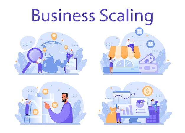 Business-skalierungs-illustrationssatz
