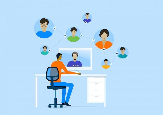 Business smart online arbeiten mit remote-working-technologie und einem mann meeting von zu hause aus konzept