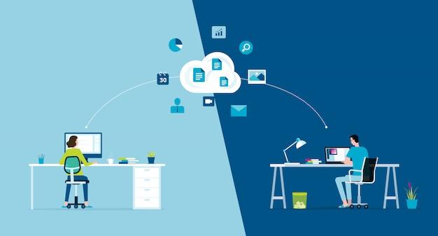 Business smart working online verbinden überall konzept