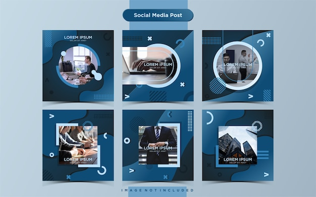 Business social media post design template sammlung