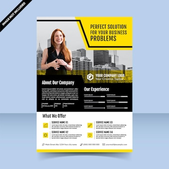 Business solution agency modernes schwarz-gelbes flyer-vorlagendesign