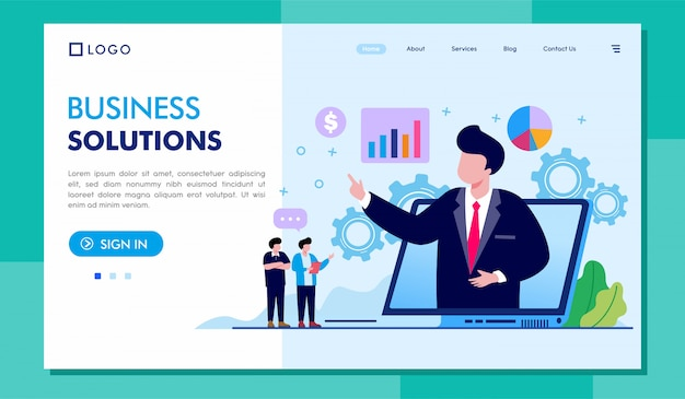 Business solutions landing page website illustration