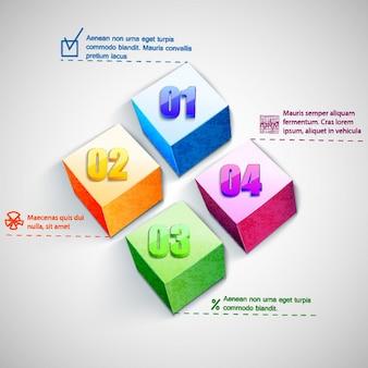 Business square diagrammvorlage mit textfeldern