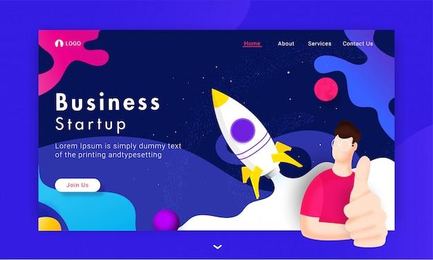 Business start basierte landing page mit dem mann, der daumen herauf zeichen und erfolgreiche rakete zeigt, die auf abstraktem universum startet.