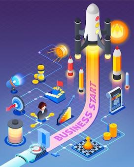 Business start isometrische zusammensetzung