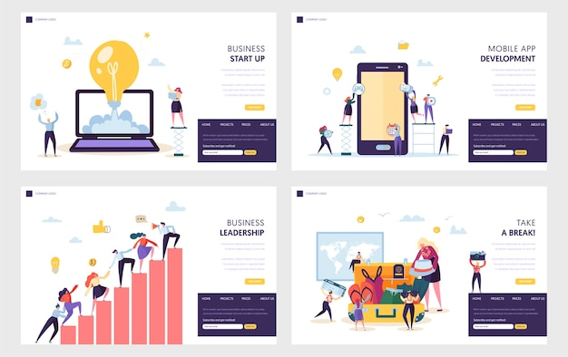 Business start up landing page set.