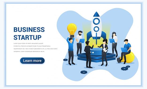 Business start up projektkonzept. leute, die an raketen arbeiten und sich auf ein startup vorbereiten. flache darstellung