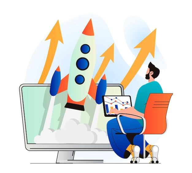 Business-startup-konzept im modernen flachen design man startet neues projekt auf den markt