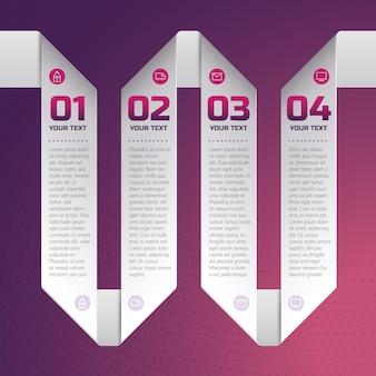 Business style ribbon vorlage mit text- und zahlenfeldern schritt für schritt