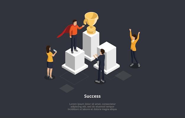Business success concept illustration im isometrischen cartoon-stil. 3d-vektorkomposition der männlichen und weiblichen zeichen, die gewinner begrüßen, der auf sockel steht