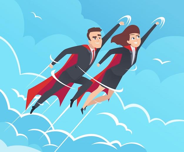 Business superhelden hintergrund. mann in aktion wirft mächtige teamwork-helden auf, die in himmelsgeschäftsbildern fliegen