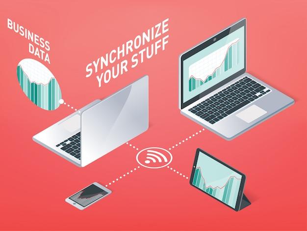 Business-synchronisation, informationssynchronisation gerät im drahtlosen netzwerk und im internet bei der arbeit und zu hause