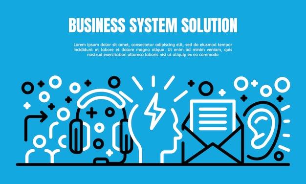 Business-system-lösung banner, umriss-stil
