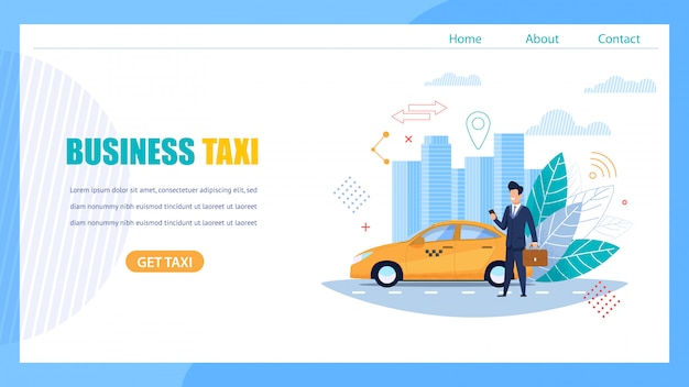 Business taxi landing page. mann, der auf auto wartet.