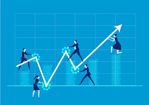 Business-team ändern sie die richtung des pfeils