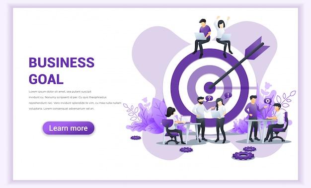 Business-team-arbeitskonzept. ziel mit einem pfeil, ziel treffen, zielerreichung. flache vektor-illustration
