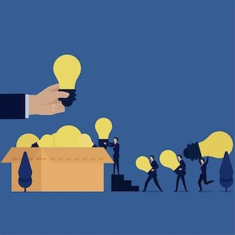 Business-team bringen ideen zu box-metapher der bestrebungen.