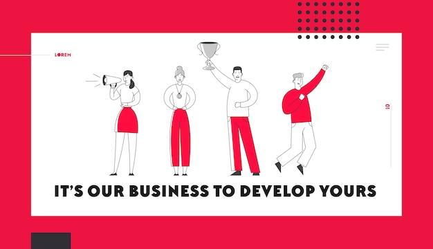 Business team celebration victory website landing page.