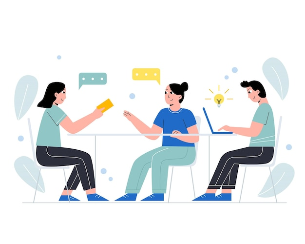 Business-team diskutiert ideen für den start