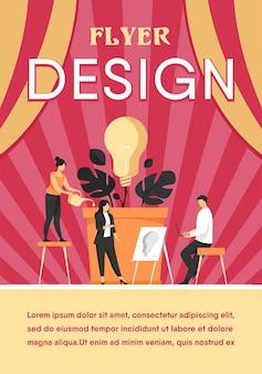 Business-team diskutiert neue ideen und innovationen. gruppe von leuten, die glühbirnenpflanze wachsen. flyer vorlage