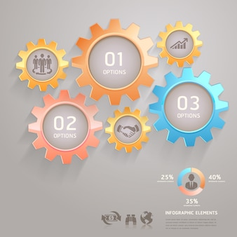 Business team gears infografiken anzahl optionen